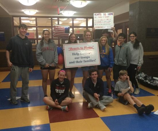 Bronxville School students at the Phone-a-thon held on April 5.  (Left to right standing) Jack McSherry, Natalie Kister, Sophia Anagnostakis, Ellie Walsh, Sophie Kohlhoff, Rayne Wiser, Tyler Tanaka-Wong, Anna Maicon. (Left to right, sitting) Bridget Sands, Charlie Gay, Peter Coquillette.